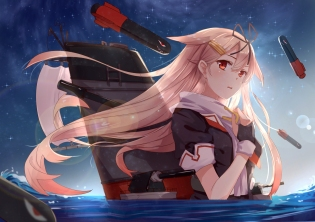 Konachan.com - 198928 anthropomorphism blonde_hair byakuya_reki gloves kantai_collection red_eyes seifuku water yuudachi_%28kancolle%29