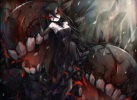 Konachan.com - 199820 battleship_water_oni black_hair dress elbow_gloves horns kajaneko kantai_collection red_eyes