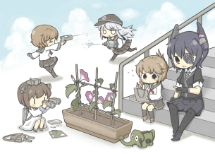 Konachan.com - 199952 eyepatch flowers group gun hibiki_(kancolle) ikazuchi_(kancolle) inazuma_(kancolle) kantai_collection stairs tenryuu_(kancolle) weapon