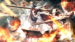 Konachan.com - 200557 anchorage_water_demon black_hair clouds dress fire horns kantai_collection kouji_(astral_reverie) long_hair orange_eyes water