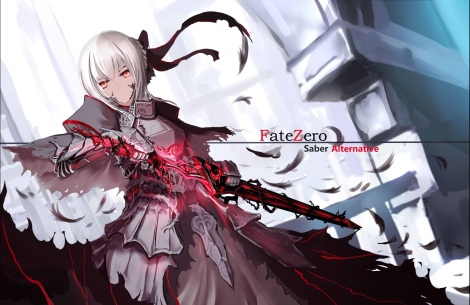 Konachan.com - 201319 armor bow fate_stay_night gray_hair polychromatic red_eyes saber saber_alter signed sword weapon x2