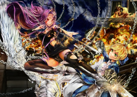 Konachan.com - 201529 armor boots chain feathers fire garter long_hair pink_hair poyan_noken red_eyes rider saber sword tattoo thighhighs torn_clothes weapon wings