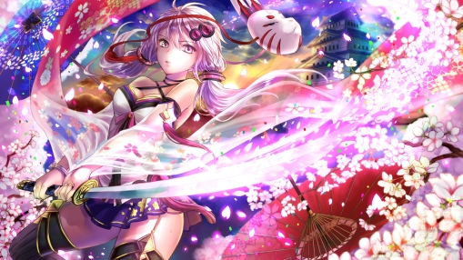 Konachan.com - 202452 breasts building cleavage katana long_hair mask purple_hair sword thighhighs twintails umbrella vocaloid weapon yuzuki_yukari zettai_ryouiki