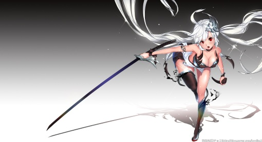 Konachan.com - 205208 breasts cleavage gradient hoolim2 katana long_hair original red_eyes sword thighhighs torn_clothes twintails watermark weapon white_hair
