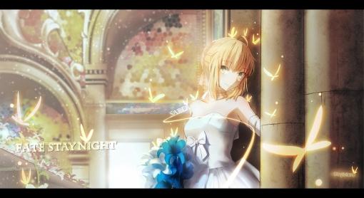 Konachan.com - 205312 blonde_hair butterfly dress elbow_gloves fate_stay_night flowers magicians saber wedding_attire
