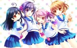 Konachan.com - 203642 akebono_(kancolle) kantai_collection oboro_(kancolle) sakurazawa_izumi sazanami_(kancolle) seifuku skirt ushio_(kancolle)