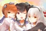 Konachan.com - 204663 black_hair brown_hair kantai_collection long_hair orange_eyes pink_eyes seifuku short_hair tagme_(artist) white_hair wink yukikaze_(kancolle)