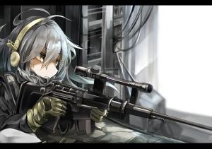 Konachan.com - 204664 gloves gray_hair gun haruna_(kancolle) headphones kantai_collection miyabino_(miyabi1616) weapon yellow_eyes