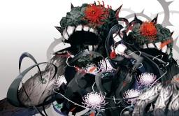 Konachan.com - 204825 battleship_water_oni black_hair collar elbow_gloves flowers horns kantai_collection long_hair red_eyes tsurukame