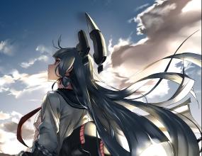 Konachan.com - 204867 blue_hair clouds kantai_collection long_hair murakumo_(kancolle) sky torn_clothes tsuuhan