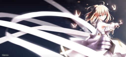 Konachan.com - 205478 armor blonde_hair bow fate_stay_night fate_unlimited_codes magicians saber saber_lily sword weapon