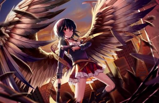 Konachan.com - 206704 black_hair boots building choker city feathers gun kin_toki original red_eyes skirt weapon wings