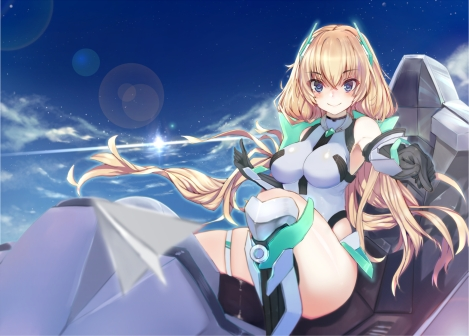 Konachan.com - 207503 angela_balzac blonde_hair breasts expelled_from_paradise ganida_boushoku gloves skintight sky