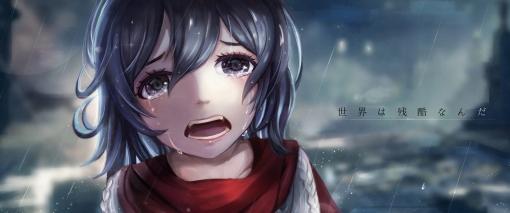 Konachan.com - 208167 black_eyes black_hair crying l.bou mikasa_ackerman rain scarf shingeki_no_kyojin tears water wet