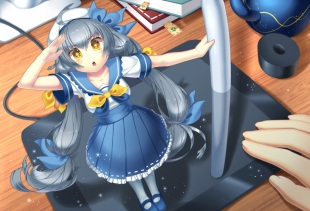 Konachan.com - 192577 book gray_hair hat long_hair nongqiling original pixiv-tan seifuku skirt twintails yellow_eyes