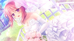 Konachan.com - 193452 alcot flowers game_cg kimi_no_tonari_de_koishiteru! komatsu_rina motomiya_mitsuki purple_eyes red_hair wedding_attire
