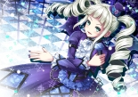 Konachan.com - 193663 aikatsu! akashio aqua_eyes blonde_hair chain dress fang hat long_hair toudou_yurika twintails