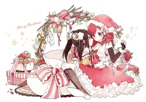 Konachan.com - 193665 2girls black_hair boots bow christmas elbow_gloves flowers nishikino_maki pink_eyes red_hair rose santa_costume twintails yazawa_nico yukinokoe