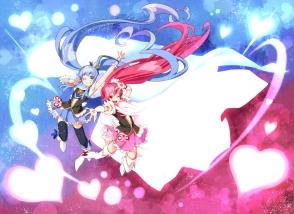 Konachan.com - 194515 2girls blue_hair long_hair pink_hair precure tagme_(character) ushiki_yoshitaka