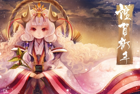 Konachan.com - 194639 aka_tonbo_(lovetow) horns japanese_clothes long_hair original red_eyes rope sheepgirl white_hair