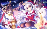 Konachan.com - 196021 blush christmas dress gray_hair pantyhose snow tagme twintails