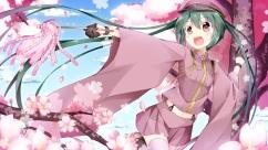 Konachan.com - 197610 brown_eyes cherry_blossoms flowers gloves hat hatsune_miku inumine_aya navel senbon-zakura_(vocaloid) skirt thighhighs twintails vocaloid