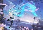 Konachan.com - 197832 aqua_hair beek building cherry_blossoms clouds hatsune_miku long_hair scarf skirt sky thighhighs twintails vocaloid