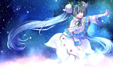 Konachan.com - 197988 aqua_hair blue_eyes hatsune_miku long_hair sekka skirt stars twintails vocaloid yuki_miku