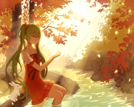Konachan.com - 198325 animal dress green_eyes green_hair hatsune_miku lan_jue leaves polychromatic rabbit tree twintails vocaloid water