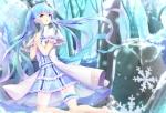 Konachan.com - 198494 aqua_eyes aqua_hair crying garter hatsune_miku kurripu long_hair snow tears tree twintails vocaloid