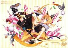 Konachan.com - 198511 animal_ears blonde_hair blue_eyes candy catgirl curry_bowl food kagamine_len tail vocaloid