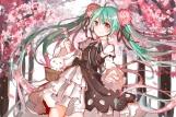 Konachan.com - 198595 aqua_hair bow brown_eyes bunny flowers food hatsune_miku long_hair ribbons twintails vocaloid yy58531214