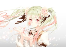 Konachan.com - 199335 bow cherry_blossoms flowers green_hair hatsune_miku long_hair platina77 red_eyes sakura_miku twintails vocaloid white