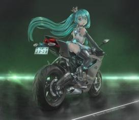 Konachan.com - 200096 aqua_eyes aqua_hair hatsune_miku long_hair motorcycle novcel signed twintails vocaloid