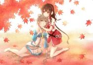 Konachan.com - 200154 autumn barefoot brown_hair choker dress earmuffs gray_hair green_eyes lan_jue leaves long_hair luo_tianyi red_eyes shoujo_ai vocaloid yuezheng_ling
