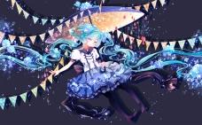 Konachan.com - 200222 dress hatsune_miku shuuumatsu twintails umbrella vocaloid