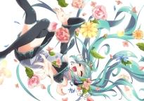 Konachan.com - 200282 blue_hair flowers hatsune_miku jpeg_artifacts long_hair twintails vocaloid