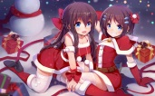 Konachan.com - 202984 2girls aqua_eyes boots breasts brown_hair christmas cleavage dress elbow_gloves long_hair nerv110 original short_hair thighhighs twins wristwear