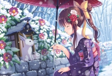 Konachan.com - 204896 animal blush bow brown_hair flowers japanese_clothes kimono long_hair original ponytail rabbit rose snow tonchan umbrella winter
