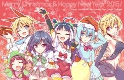 Konachan.com - 207649 animal christmas crossover doublas_m2 food group himiko horns nisekoi no_bra robot_girls_z sabagebu! seifuku thighhighs trinity_seven wink