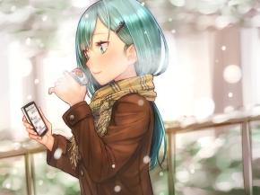 Konachan.com - 208470 aqua_hair baffu drink green_eyes kantai_collection phone scarf snow suzuya_(kancolle) winter