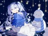 Konachan.com - 210296 blue_eyes blue_hair fuyu_no_yoru_miku hatsune_miku lococo-p long_hair snow snowman stars thighhighs vocaloid