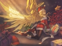 Konachan.com - 211357 blonde_hair braids christmas hat pantyhose puzzle_&_dragons rotix santa_claus santa_hat wings
