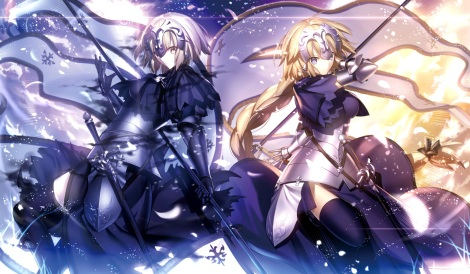 Konachan.com - 211832 armor blonde_hair blue_eyes braids fate_grand_order jeanne_d'arc_alter long_hair ponytail shinooji short_hair thighhighs weapon yellow_eyes