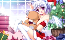 Konachan.com - 211999 1000-chan aliasing bow bunny choker christmas headband headdress heart nanaca_mai necklace oizumi teddy_bear tree twintails white_hair wings