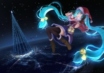 Konachan.com - 212008 aqua_eyes aqua_hair beek bell boots cape christmas hatsune_miku hoodie long_hair night thighhighs twintails vocaloid zettai_ryouiki