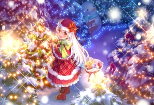 Konachan.com - 212032 boots cat_smile christmas hat long_hair maruyama-jp orange_eyes original santa_costume santa_hat snow snowman tree white_hair