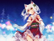 Konachan.com - 212093 catgirl christmas japanese_clothes lolita_fashion lyiet lyiet_(lyiet) night orange_eyes original signed stars watermark white_hair