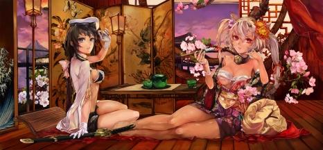 yande.re 337998 bra breasts japanese_clothes kantai_collection musashi_(kancolle) open_shirt poyan_noken sarashi smoking sword underboob uniform
