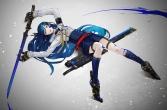 Konachan.com - 198009 armor blue_hair boots gloves gradient headdress kneehighs long_hair original skirt sword uniform weapon yucca-612